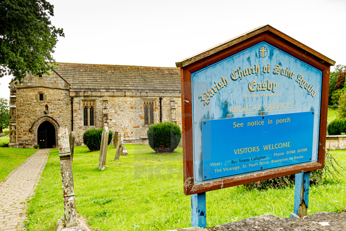 """Parish Church of Saint Agatha, Easby, near Richmond, North Yorkshire."" stock image"