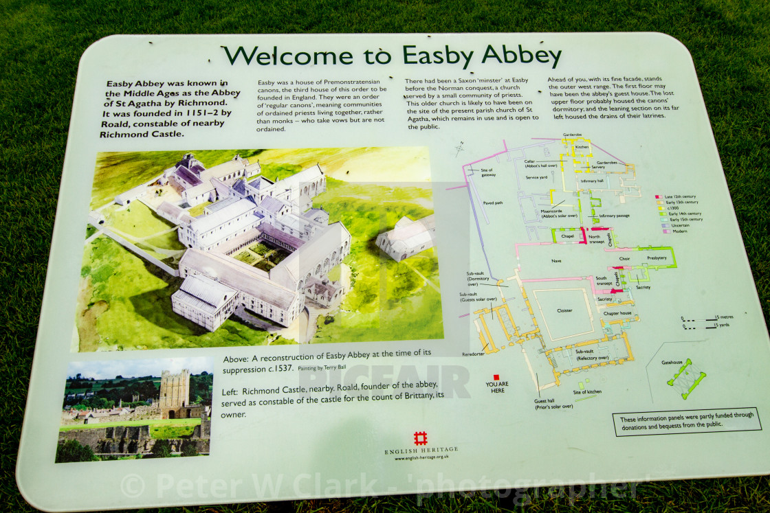 """Easby Abbey, The Abbey of Saint Agatha"" stock image"