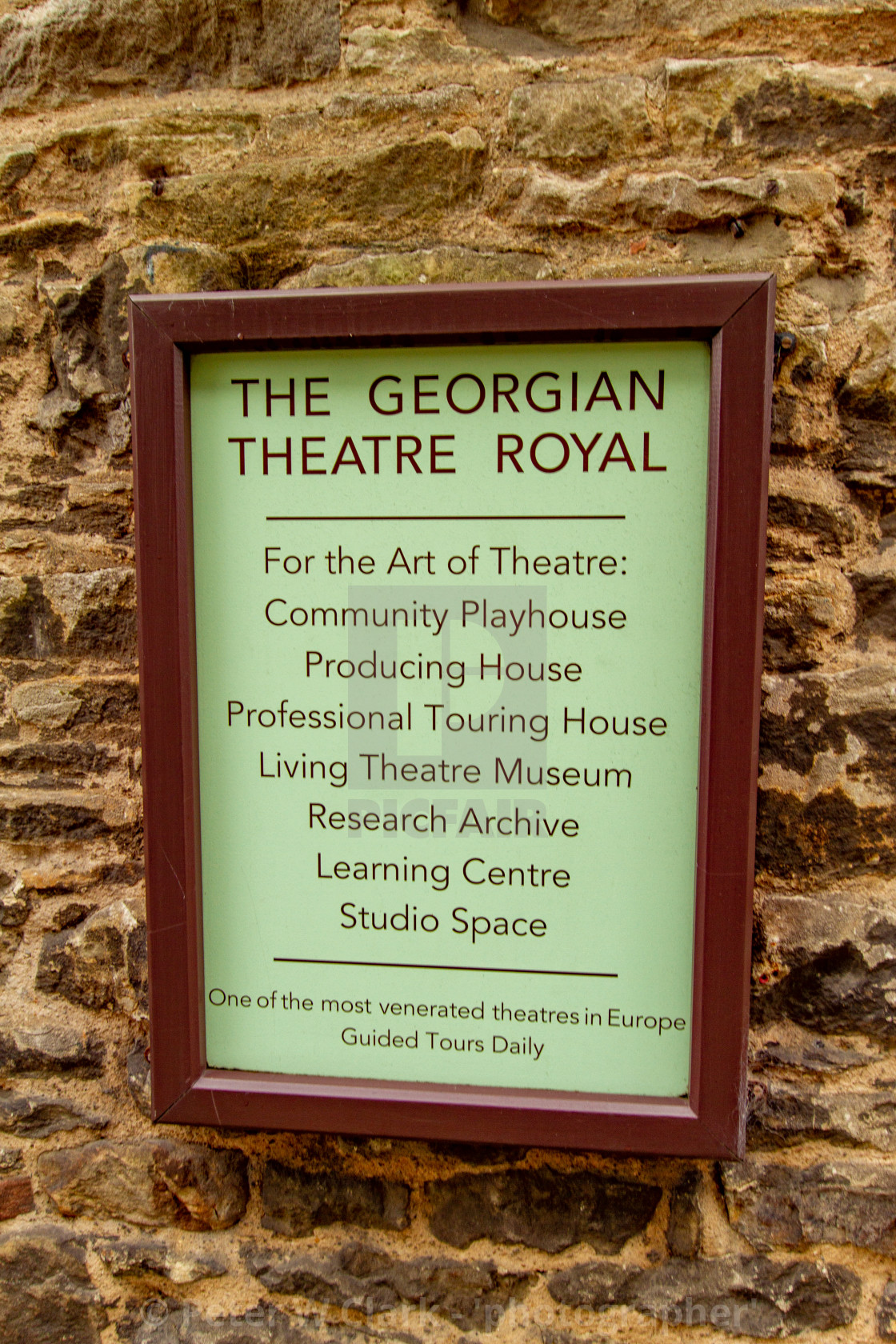 """The Georgian Theatre Royal, Sign, Richmond, North Yorkshire, UK"" stock image"