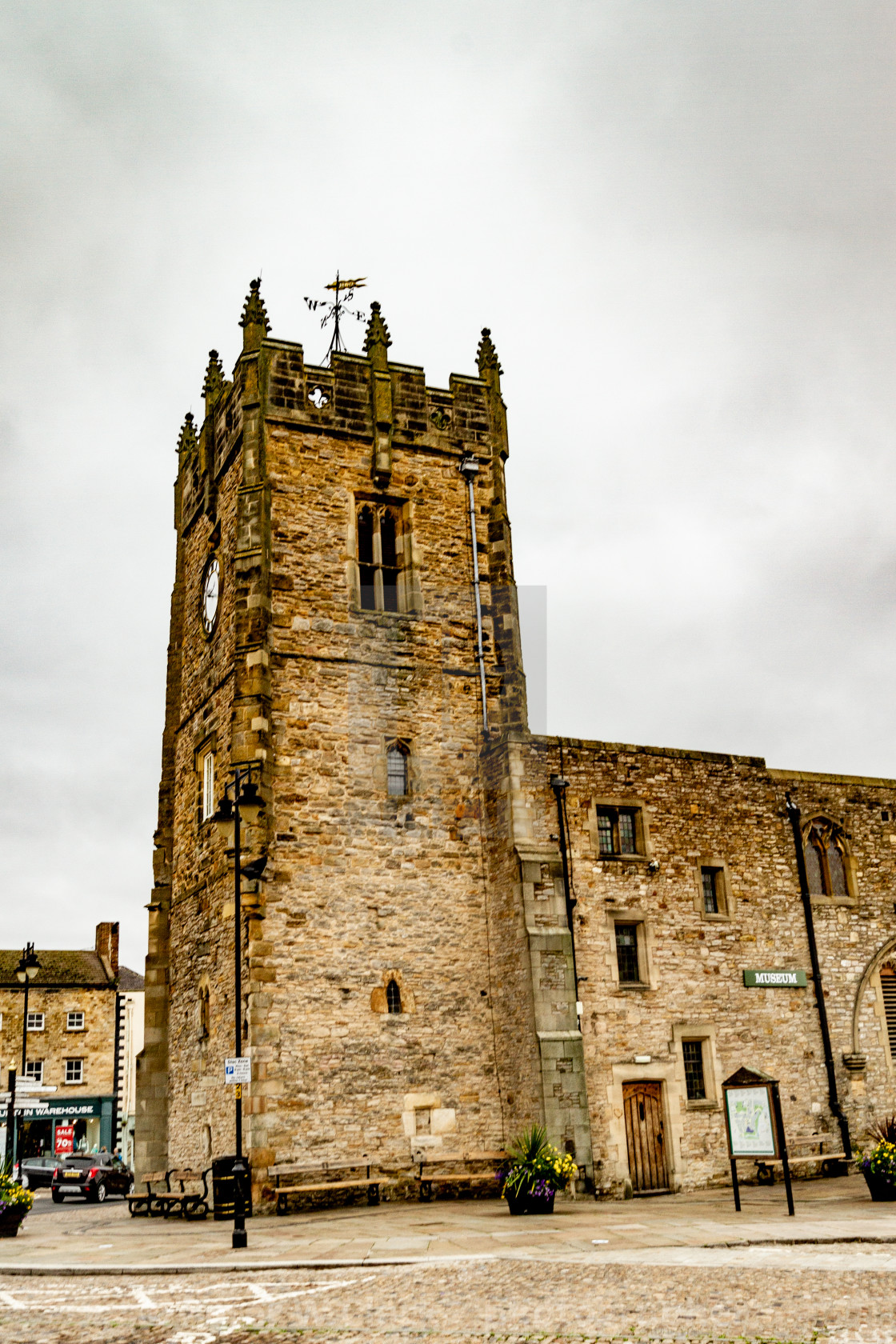 """Former Holy Trinity Church Tower, a grade 1 listed building in The Market Place, Richmond, North Yorkshire."" stock image"