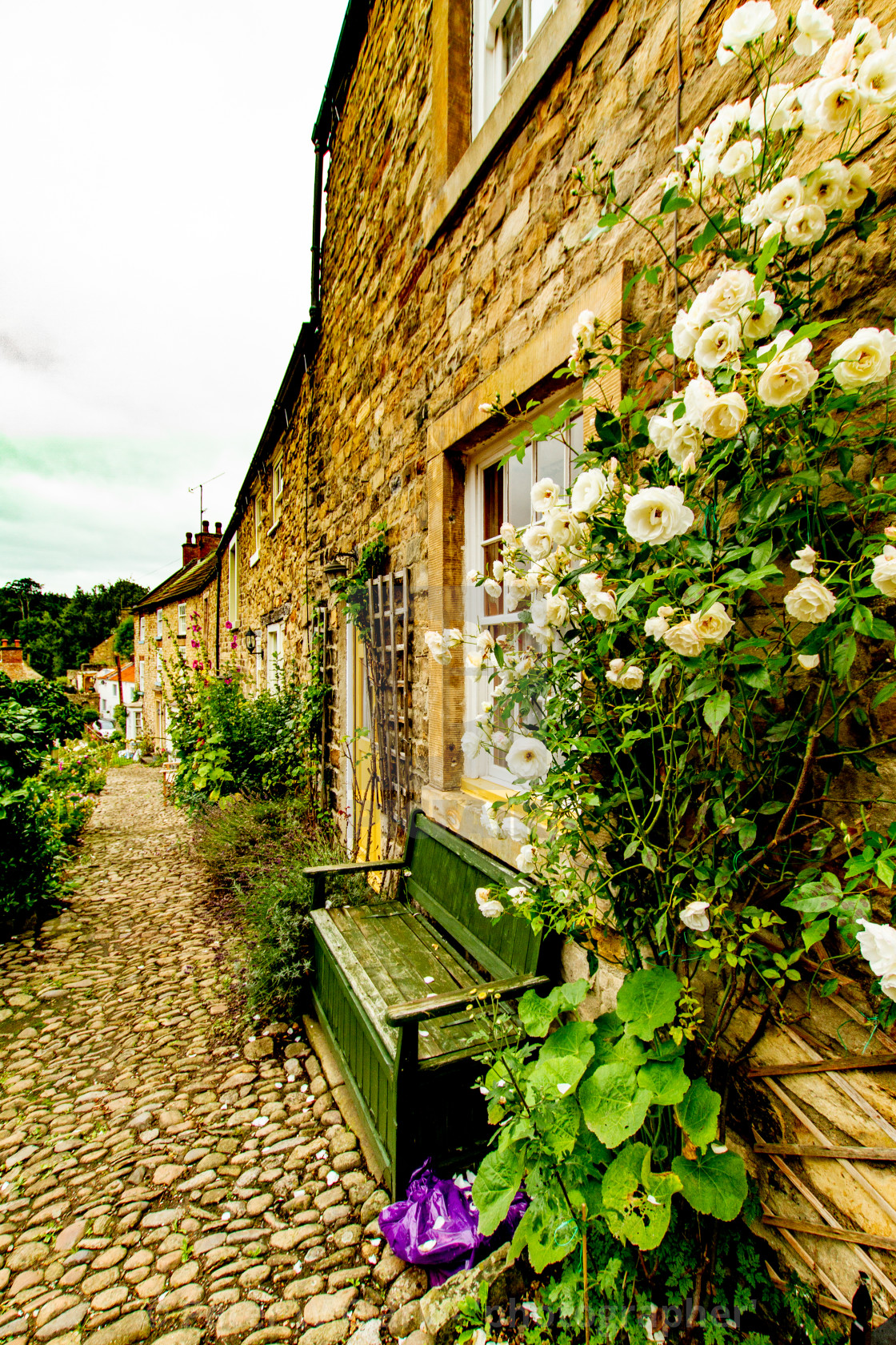 """Richmond, Yorkshire, England. Stone built terraced cottages."" stock image"