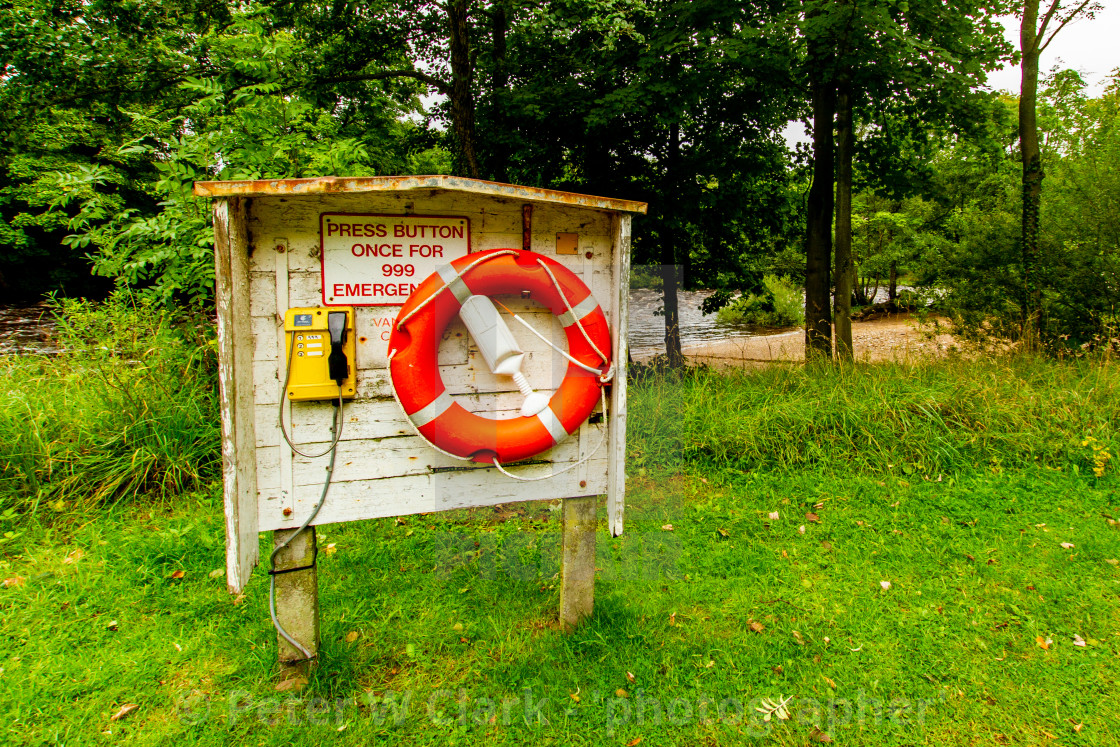 """Richmond, Yorkshire, England. River Swale Lifebuoy Rescue Point"" stock image"