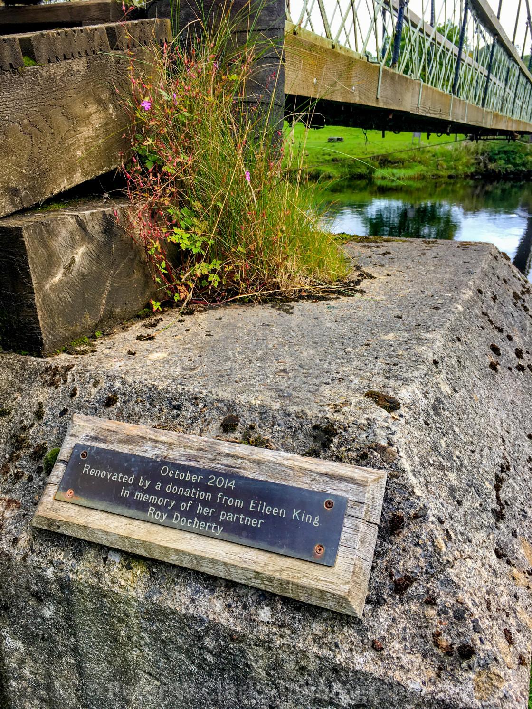 """Burnsall swing bridge, Yorkshire Dales"" stock image"