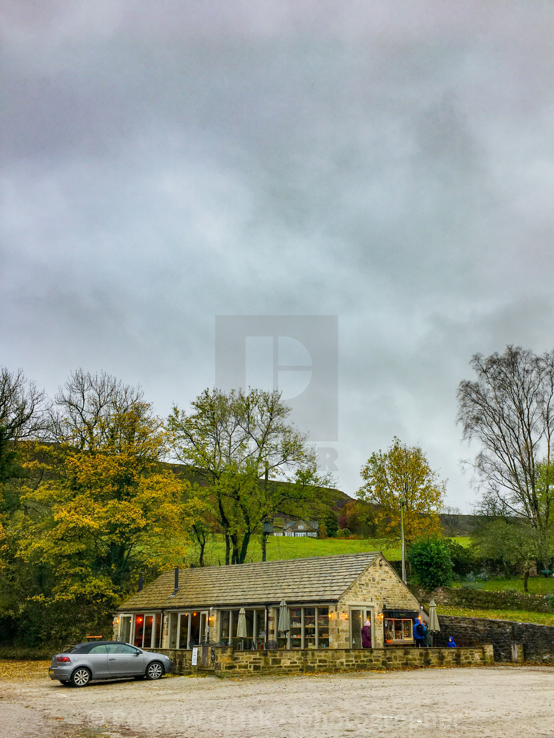 """Riverbank Cafe, Burnsall, Yorkshire Dales, England"" stock image"