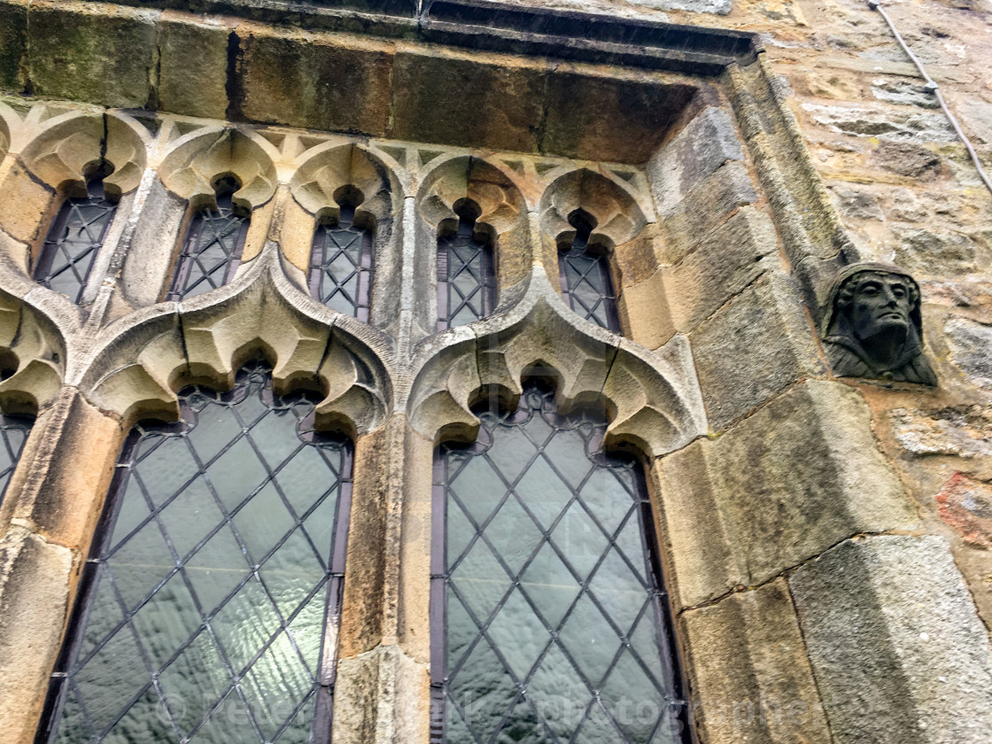 """Burnsall, Yorkshire Dales Village, England, St Wilfrids Parish Church Window detail."" stock image"