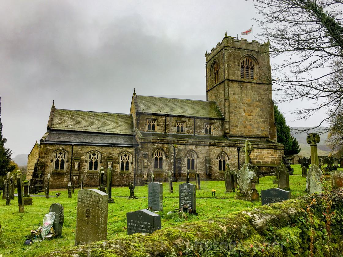 """Burnsall, Yorkshire Dales Village, England, St Wilfrids Parish Church and Graveyard."" stock image"