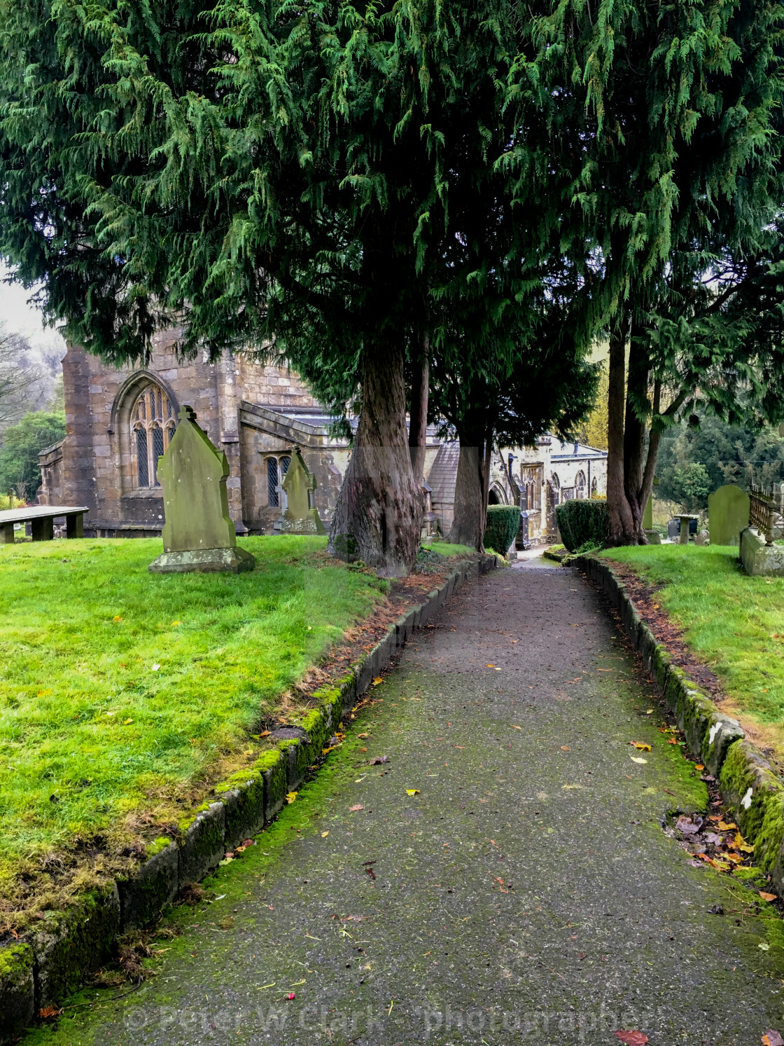 """Burnsall, Yorkshire Dales Village, England, St Wilfrids Parish Church and Graveyard."" stock image"