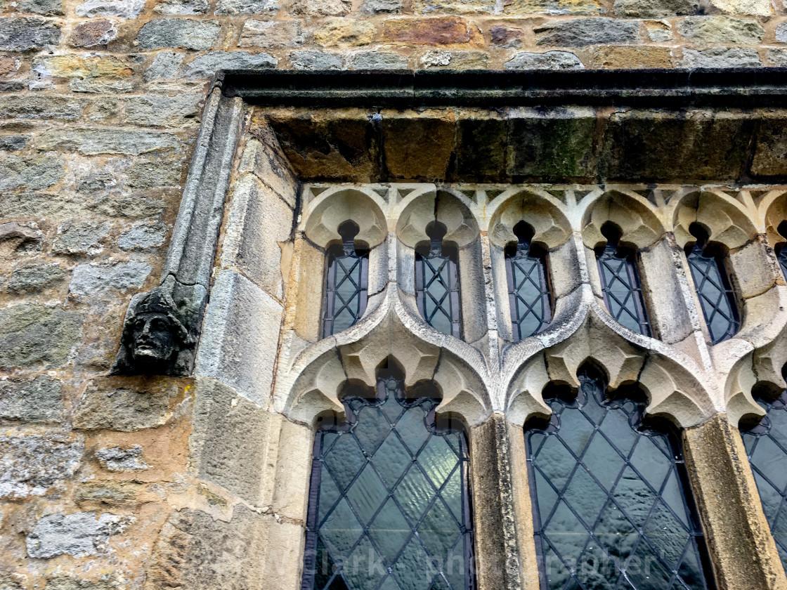 """Burnsall, Yorkshire Dales Village, England, St Wilfrids Parish Church Window detail."" stock image"