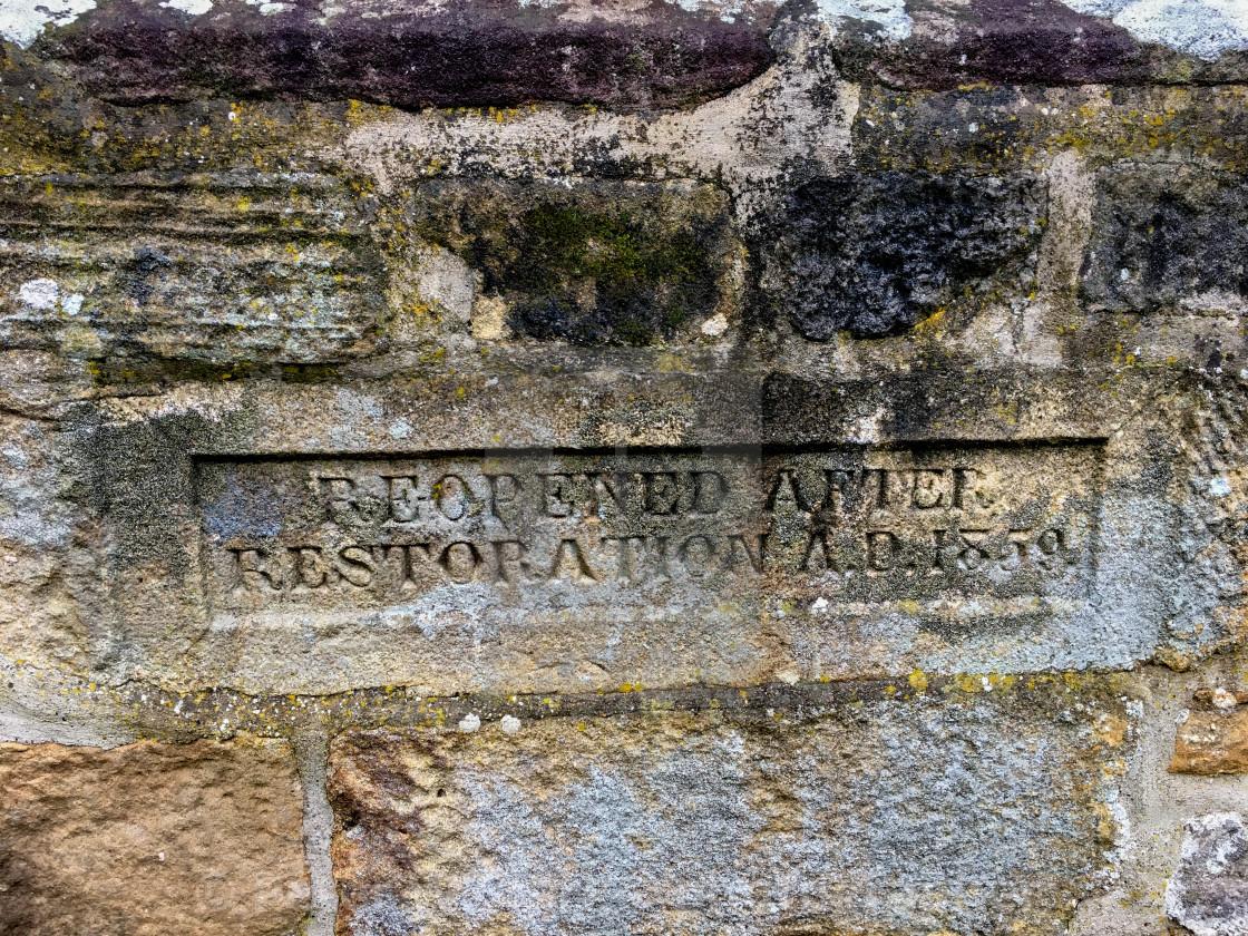 """Burnsall, Yorkshire Dales Village, England, St Wilfrids Parish Church, Stone Inscription."" stock image"