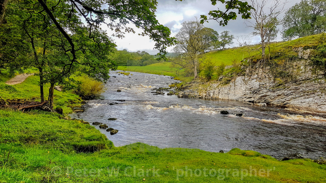 """River Wharfe at Burnsall, Wharfedale, Yorkshire, UK."" stock image"