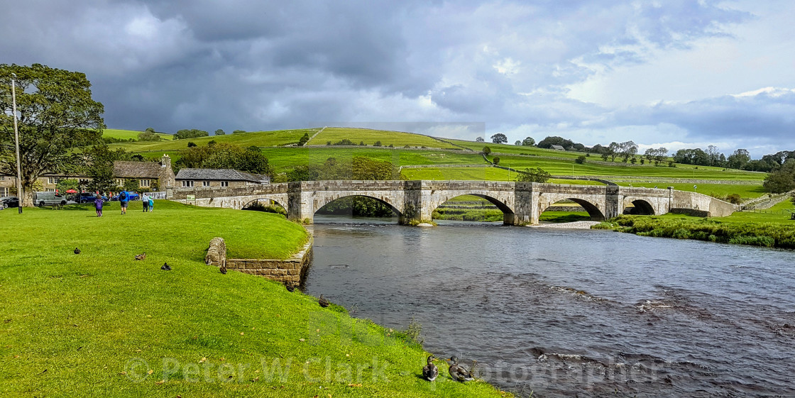 """""""Burnsall Bridge over the River Wharfe in the Yorkshire Dales, England."""" stock image"""