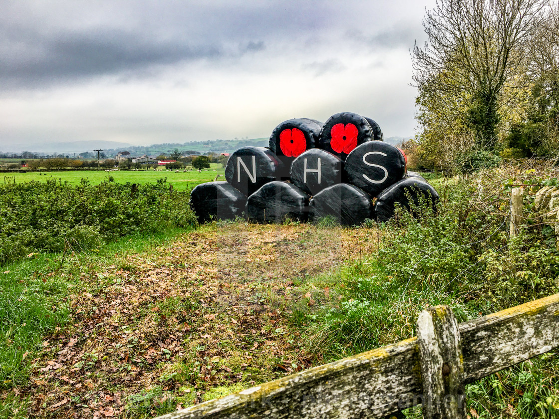 """Poppy Motif and NHS Logo on Plastic Covered Hay Bales. Fence to Foreground."" stock image"