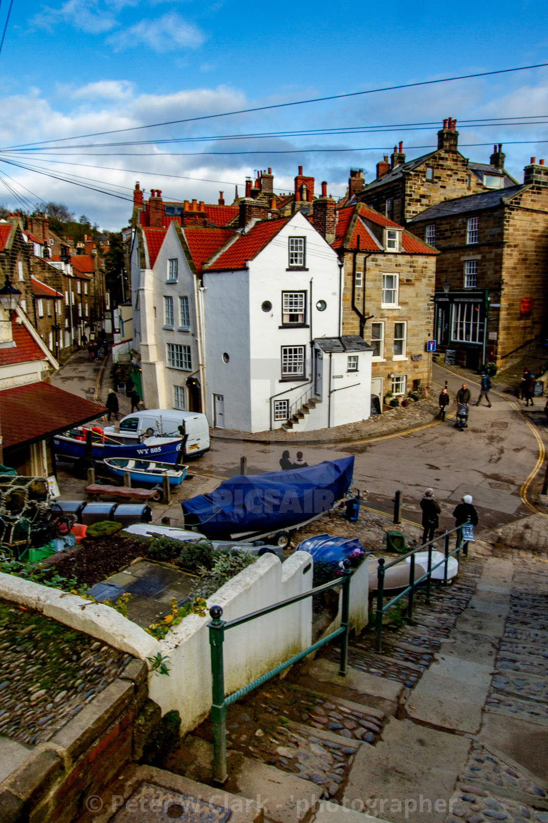 """Robin Hoods Bay, View of the Dock Area showing junction of New Road and King Street."" stock image"