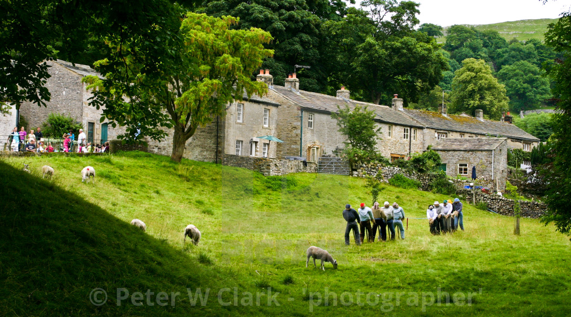 """""""Kettlewell Scarecrow Festival, Yorkshire Dales Village."""" stock image"""
