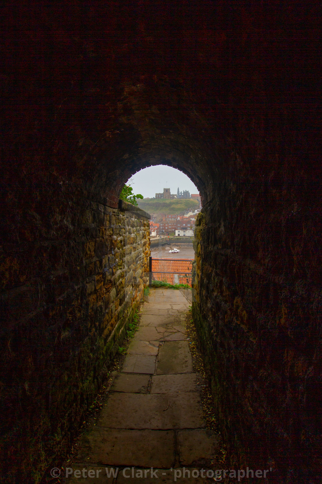 """The Screaming Tunnel, Khyber Pass, Whitby, Yorkshire, England"" stock image"