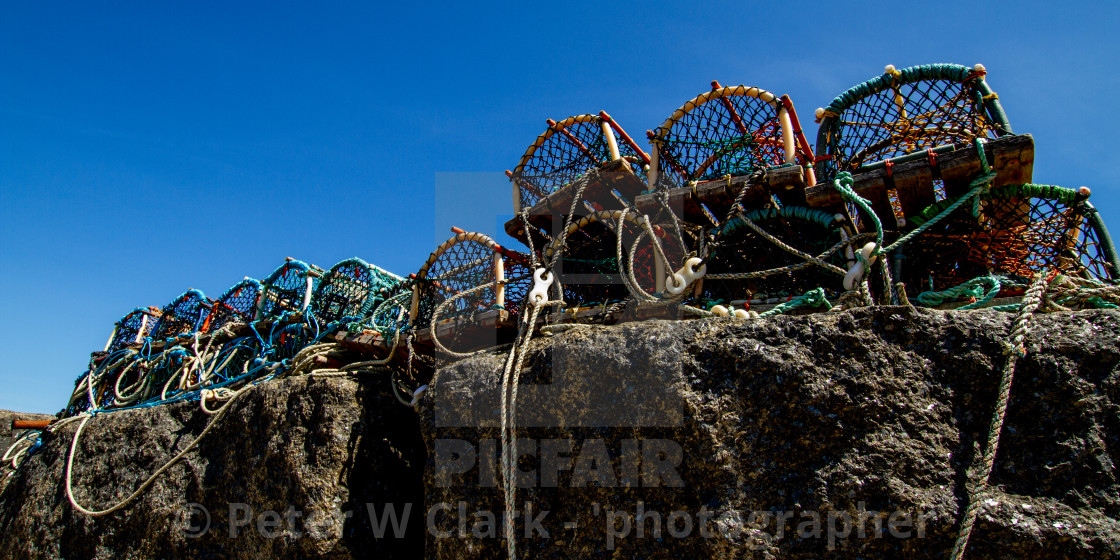 """""""Lobster Pots at Staithes Harbour Wall, Yorkshire East Coast, England."""" stock image"""
