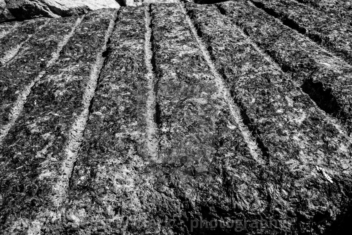 """""""Staithes Harbour Wall Stone Detail, Yorkshire, England. (monochrome)"""" stock image"""