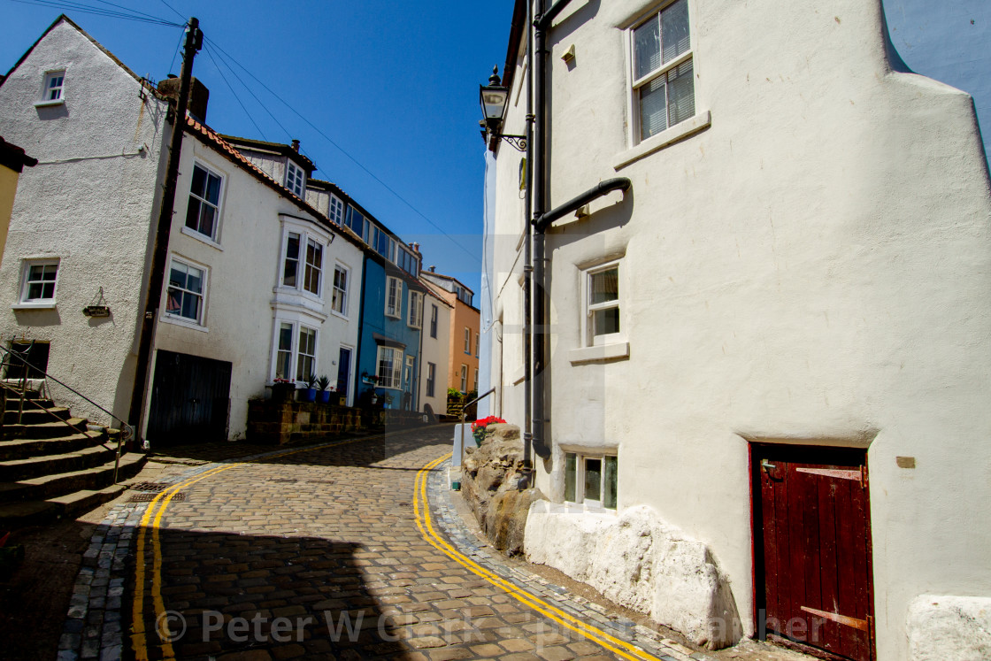 """""""Staithes, High Street Cottages, Yorkshire, England."""" stock image"""