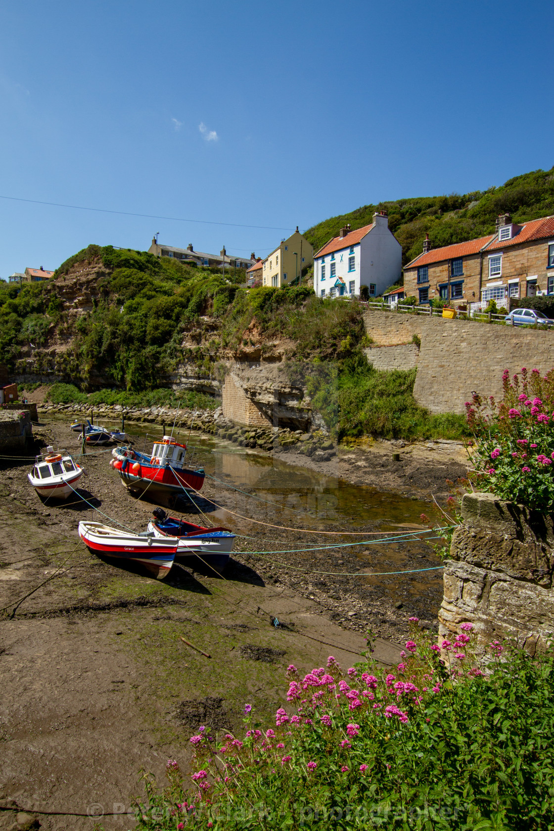 """""""Fishing Cobbles Moored in Staithes Beck, Fishermens Cottages in the Background. Staithes, Yorkshire, UK."""" stock image"""