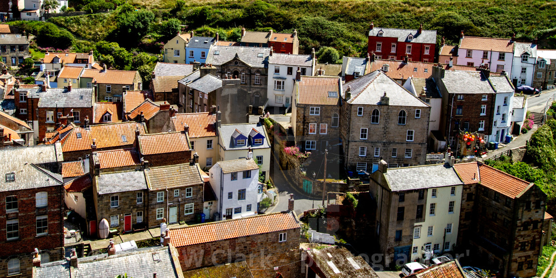 """""""Fishing Village Rooftops, Staithes, Yorkshire, England."""" stock image"""