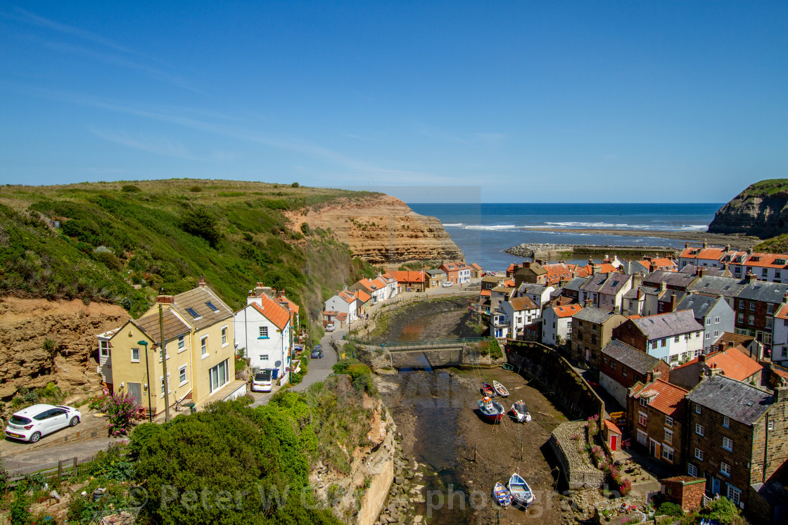 """""""View over Staithes, Northside and Staithes Beck- Cow Bar Nab, Harbour and North Sea in the Background. Yorkshire, England."""" stock image"""