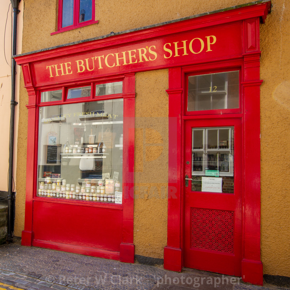 """""""Staithes, High Street , The Butchers Shop."""" stock image"""