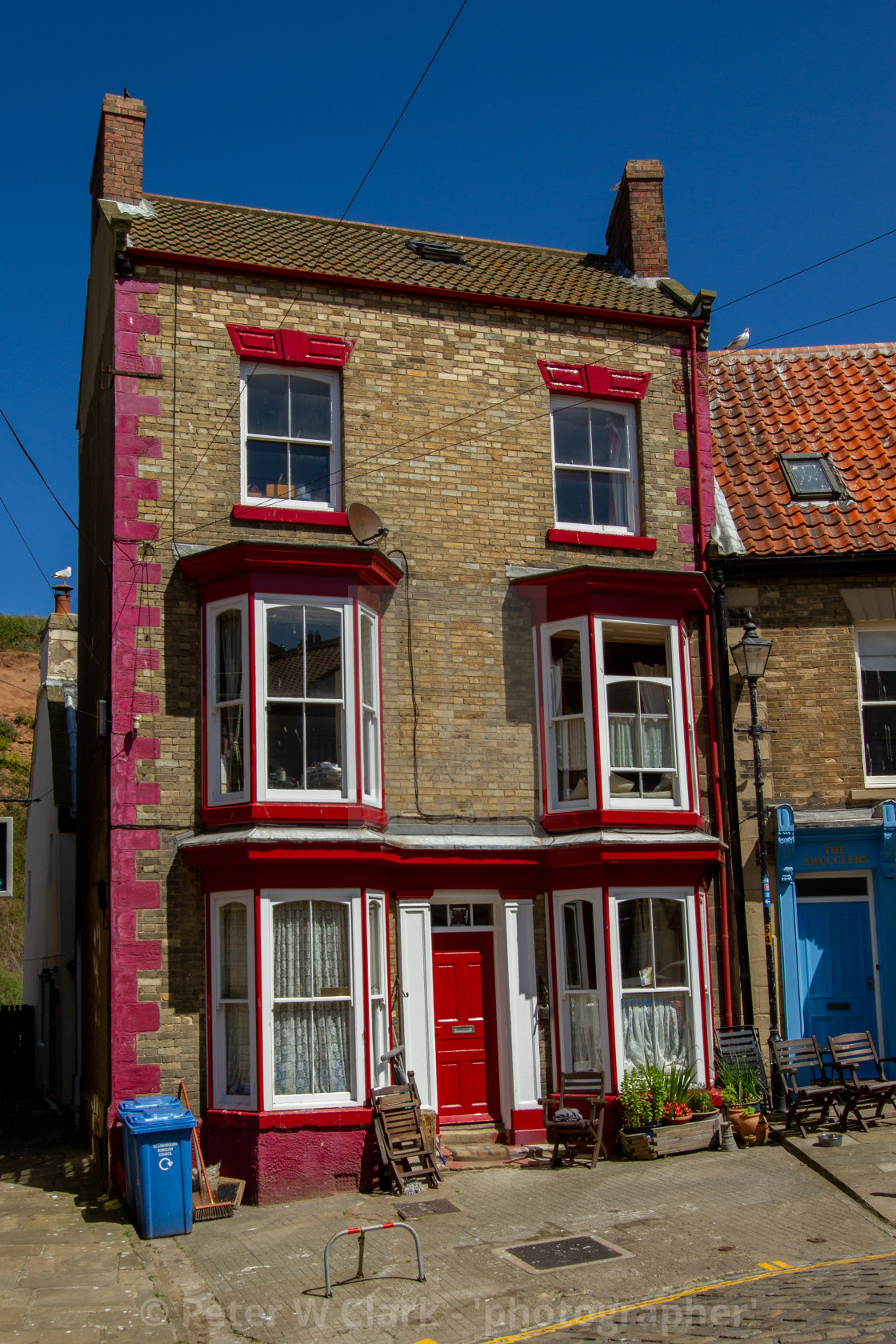 """""""Staithes, High Street, Three Story House."""" stock image"""