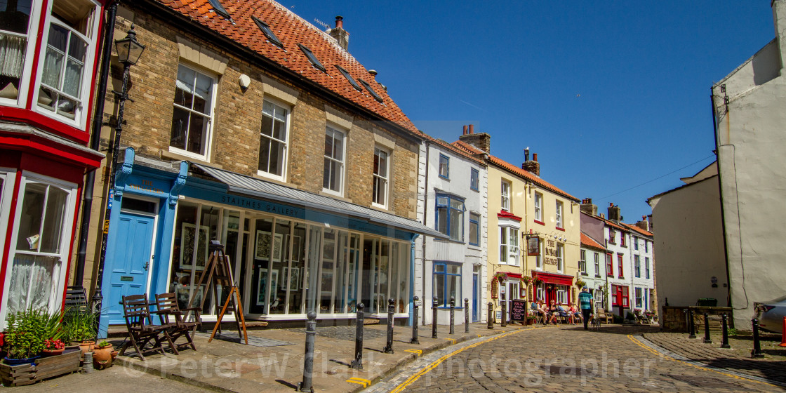 """""""Staithes Gallery and High Street, Staithes, Yorkshire, England."""" stock image"""