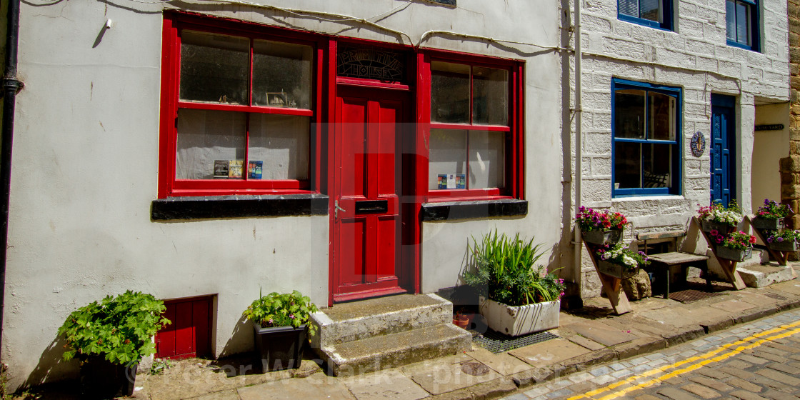 """""""Primitive House, Staithes, High Street"""" stock image"""