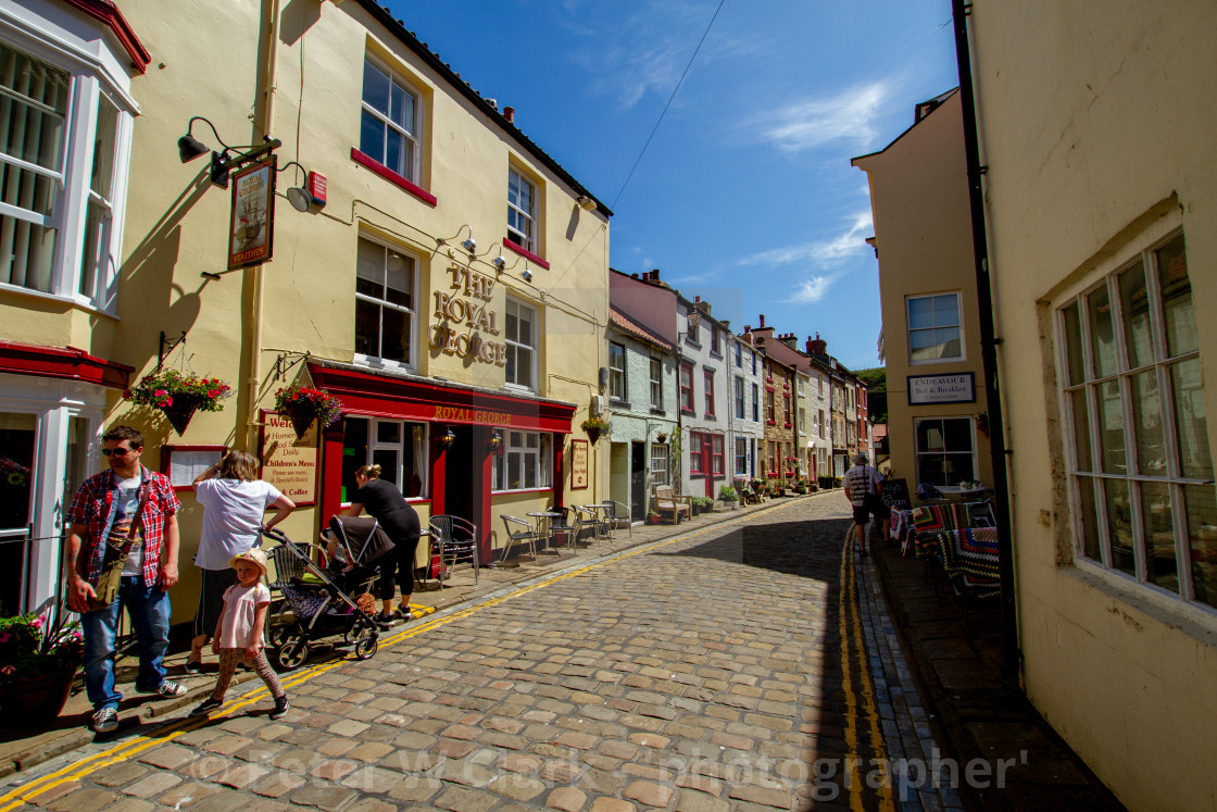"""""""The Royal George, Staithes, High Street, Yorkshire, England."""" stock image"""