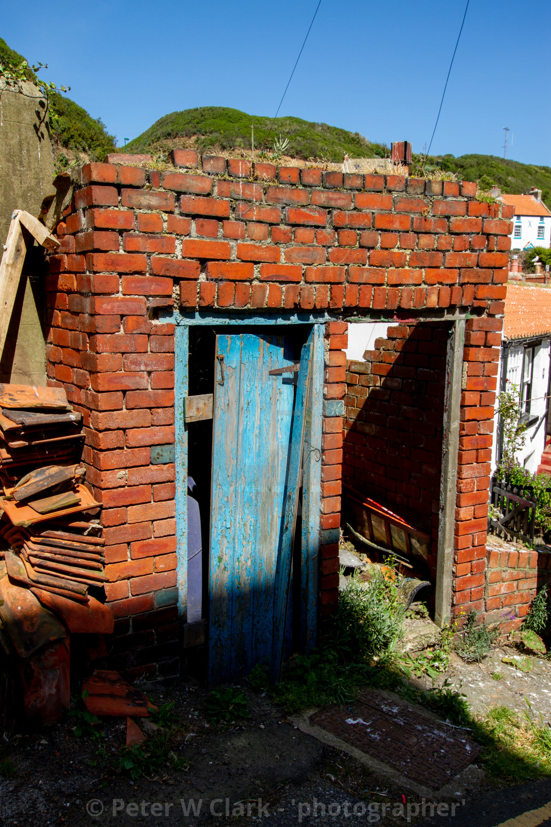 """""""Brick Dilapidated Outbuildings, Staithes, Yorkshire England."""" stock image"""
