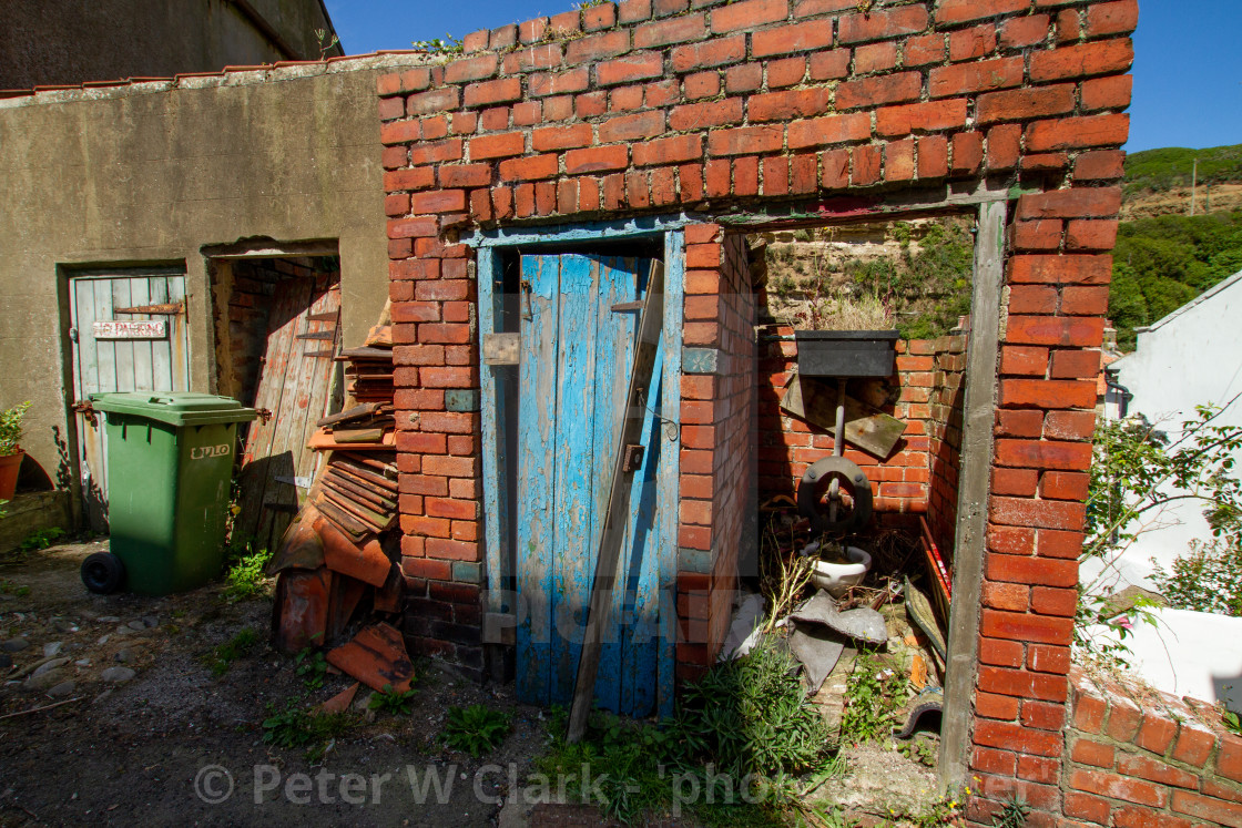 """""""Render and Brick Dilapidated Outbuildings, Staithes, Yorkshire England."""" stock image"""