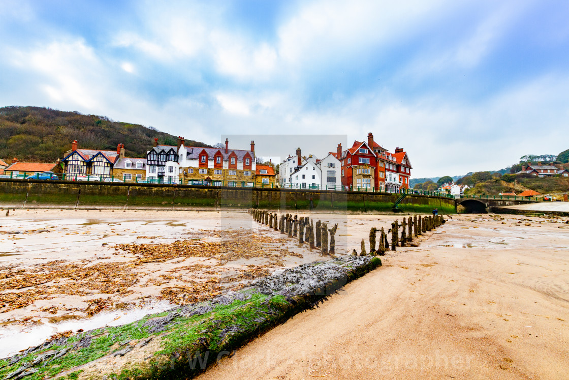 """Sandsend and the beach, Yorkshire, England."" stock image"