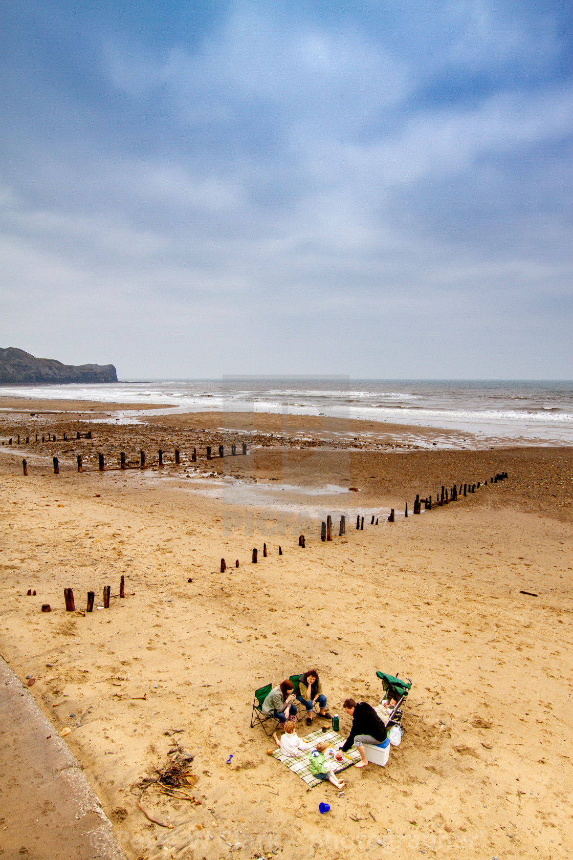 """""""Sandsend and the beach, Family Picnic. Yorkshire, England."""" stock image"""
