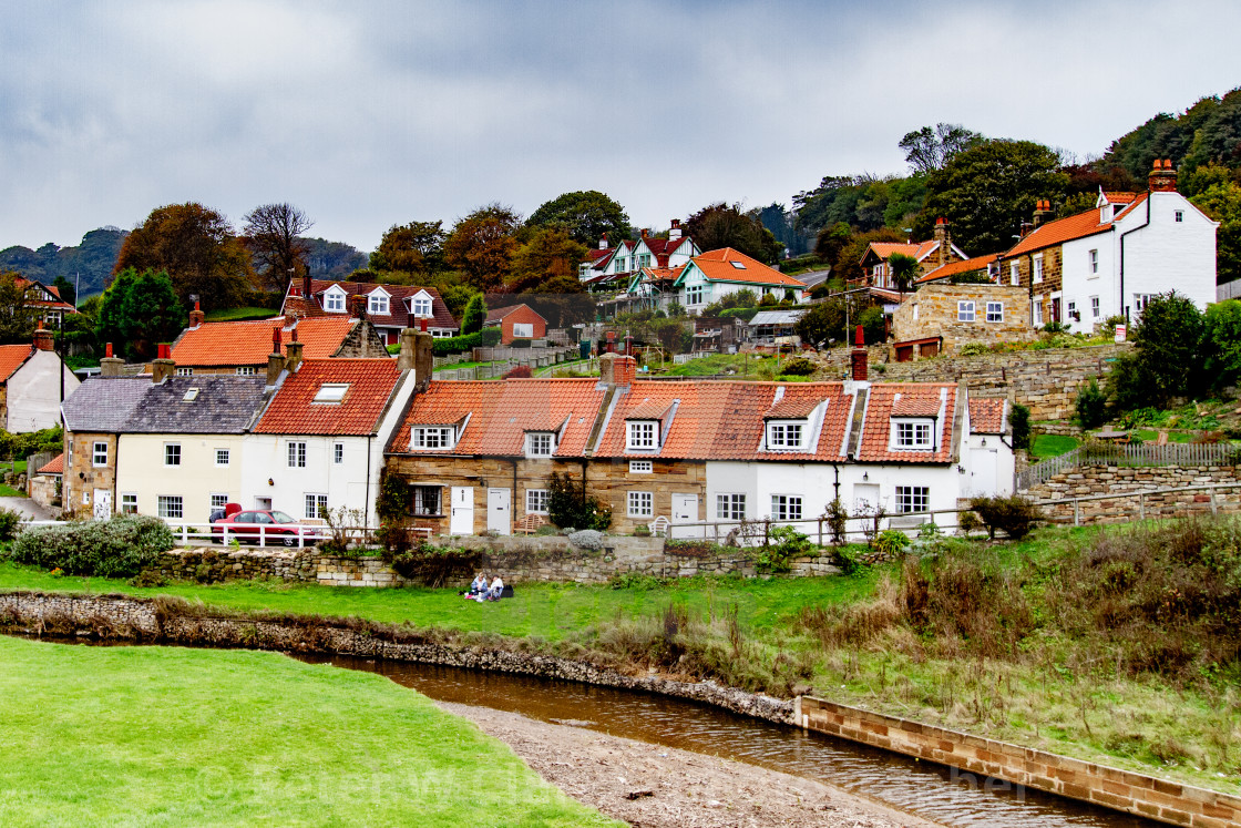 """""""Sandsend, Row of Cottages next to the Beck,, Yorkshire, England."""" stock image"""