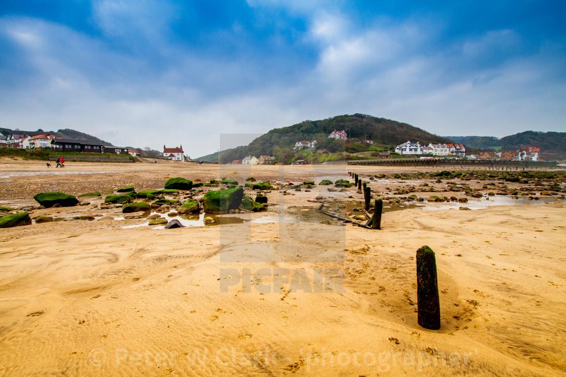 """""""Sandsend and the beach, Yorkshire, England."""" stock image"""