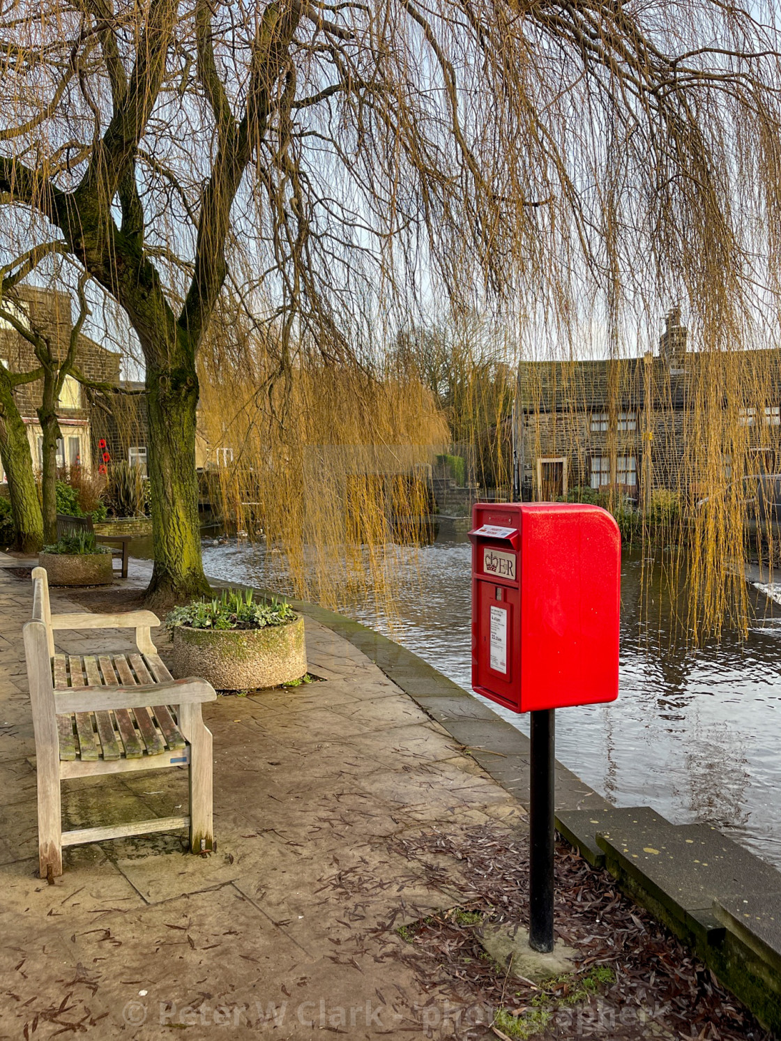 """Red Post box next to The Beck, Silsden (Cobbydale)"" stock image"