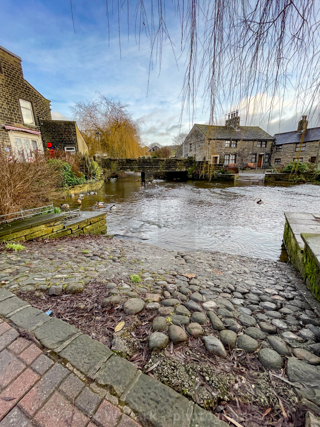 """Ford over The Beck, Silsden (Cobbydale)"" stock image"