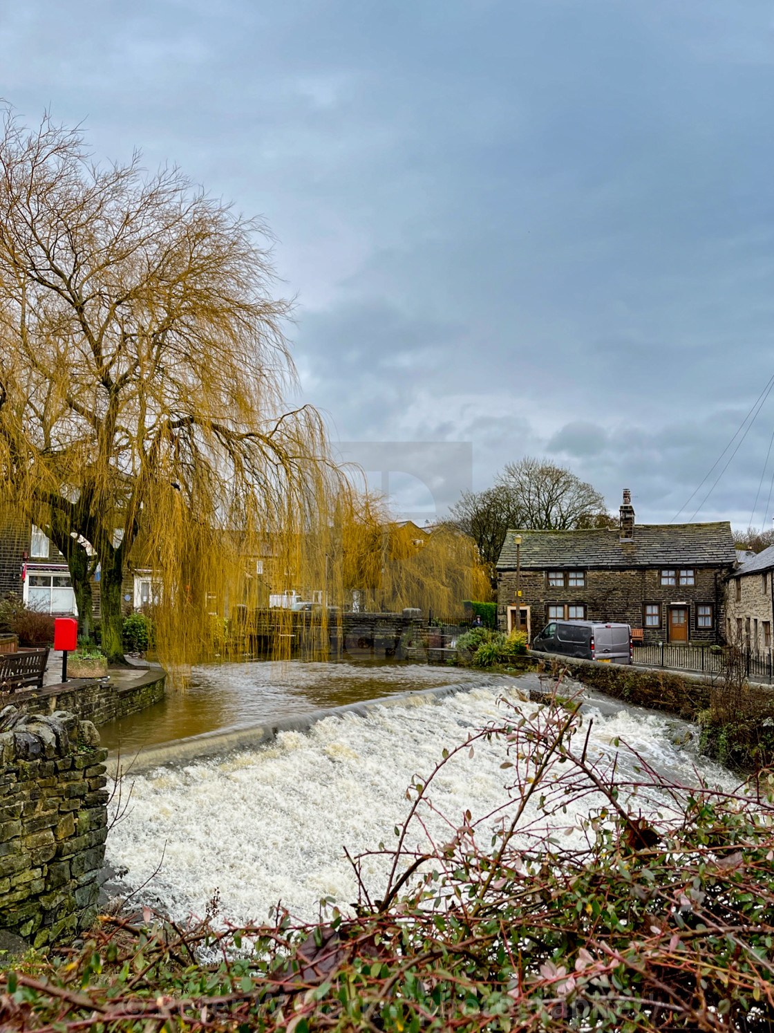 """The Beck, Silsden (Cobbydale) Yorkshire, England .Photographed 20th January 2021"" stock image"