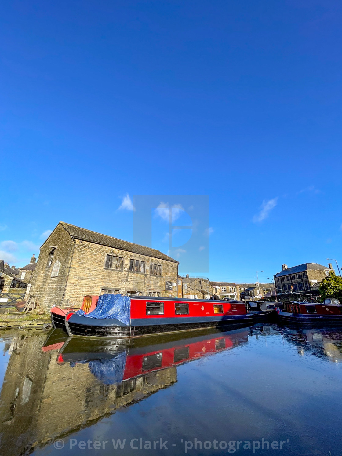"""Holiday Boat, Barge on the Leeds and Liverpool Canal at Silsden (Cobbydale) Yorkshire, England,"" stock image"
