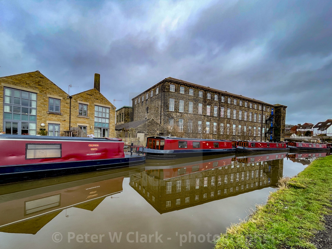 """Holiday Narrowboat/Barge Moored on the Leeds and Liverpool Canal at Silsden (Cobbydale) Yorkshire, England, Yorkshire, England,"" stock image"