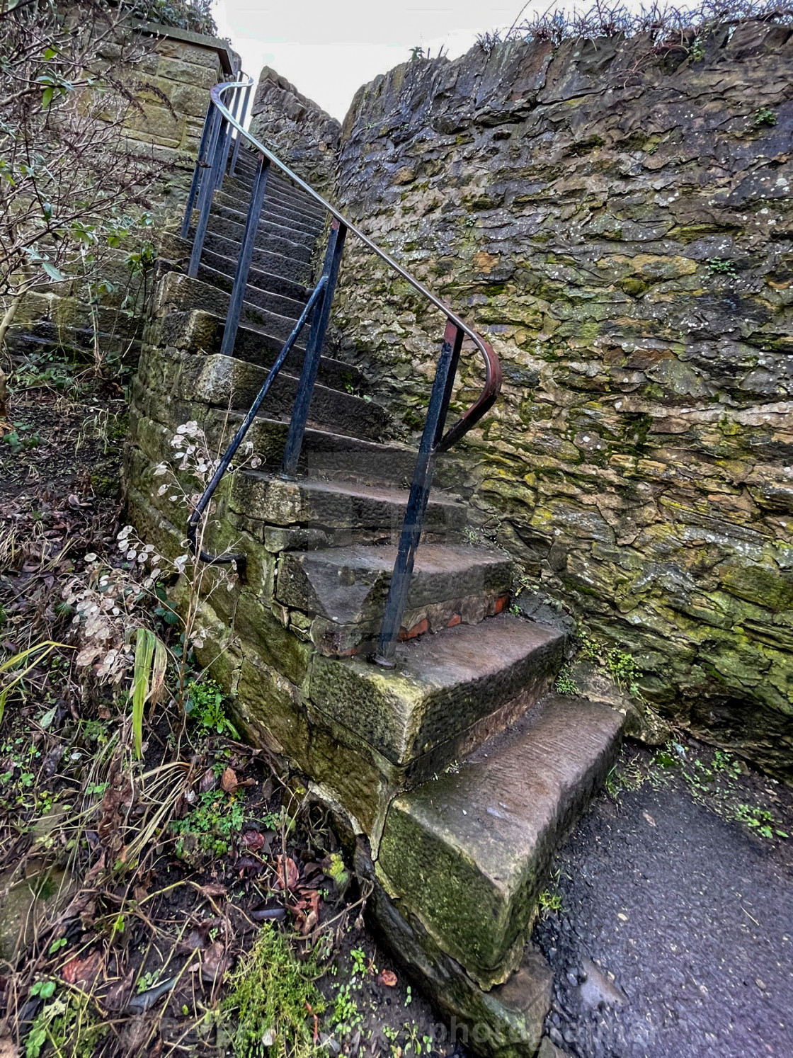 """Winding Stone Steps leading to The Leeds and Liverpool Canal Towpath at Silsden (Cobbydale) Yorkshire, England."" stock image"