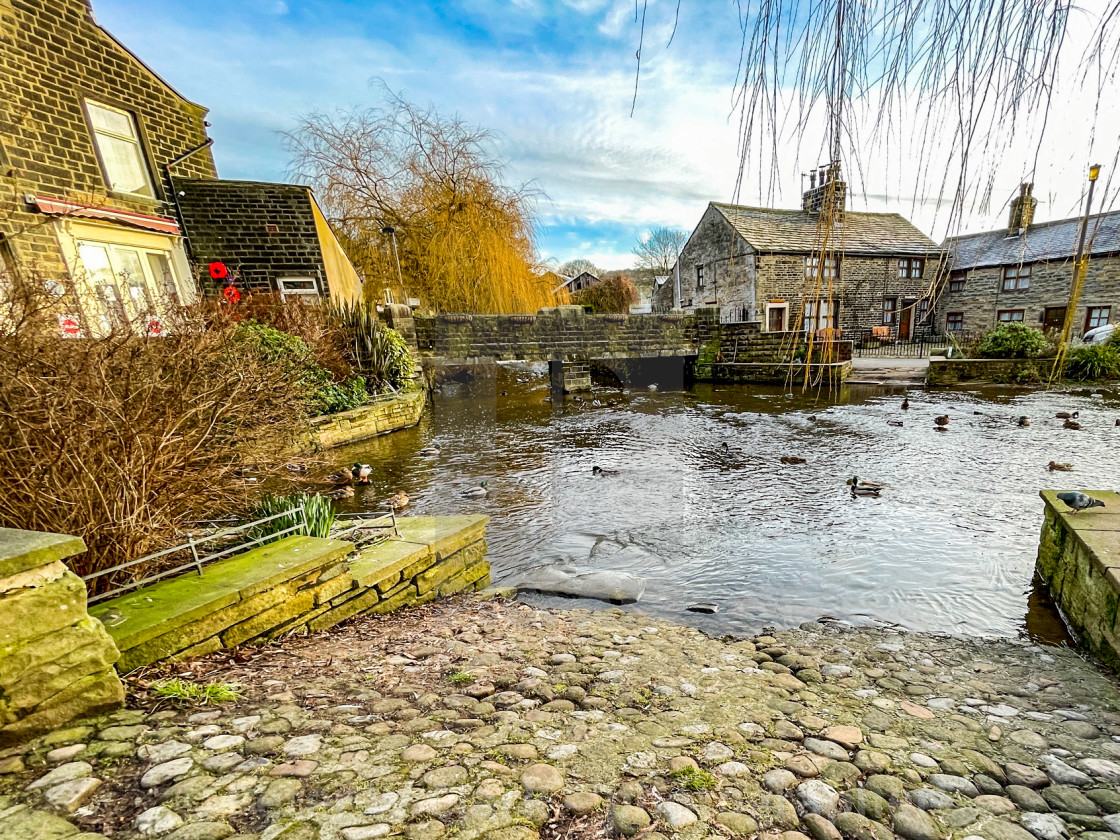 """Ford over The Beck, Silsden (Cobbydale) Yorkshire, England."" stock image"
