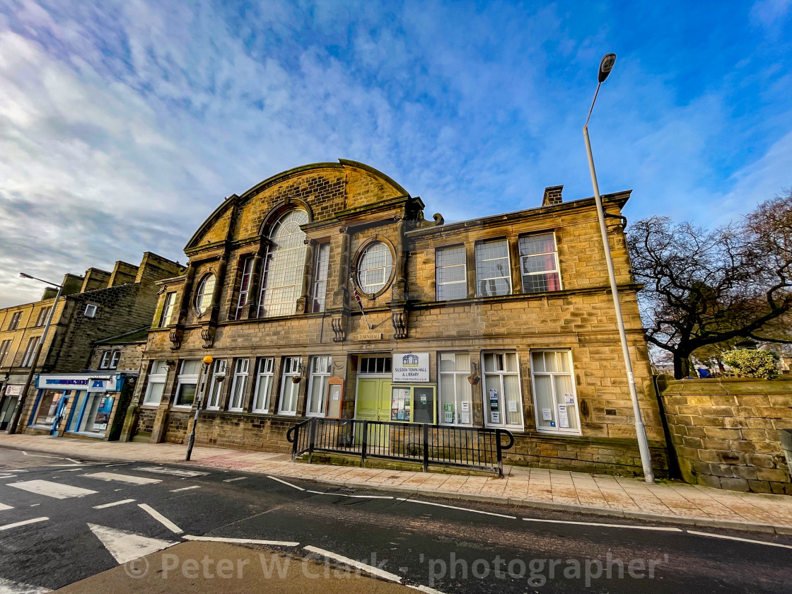 """Silsden Town Hall and Library, Silsden, Yorkshire, England, UK."" stock image"