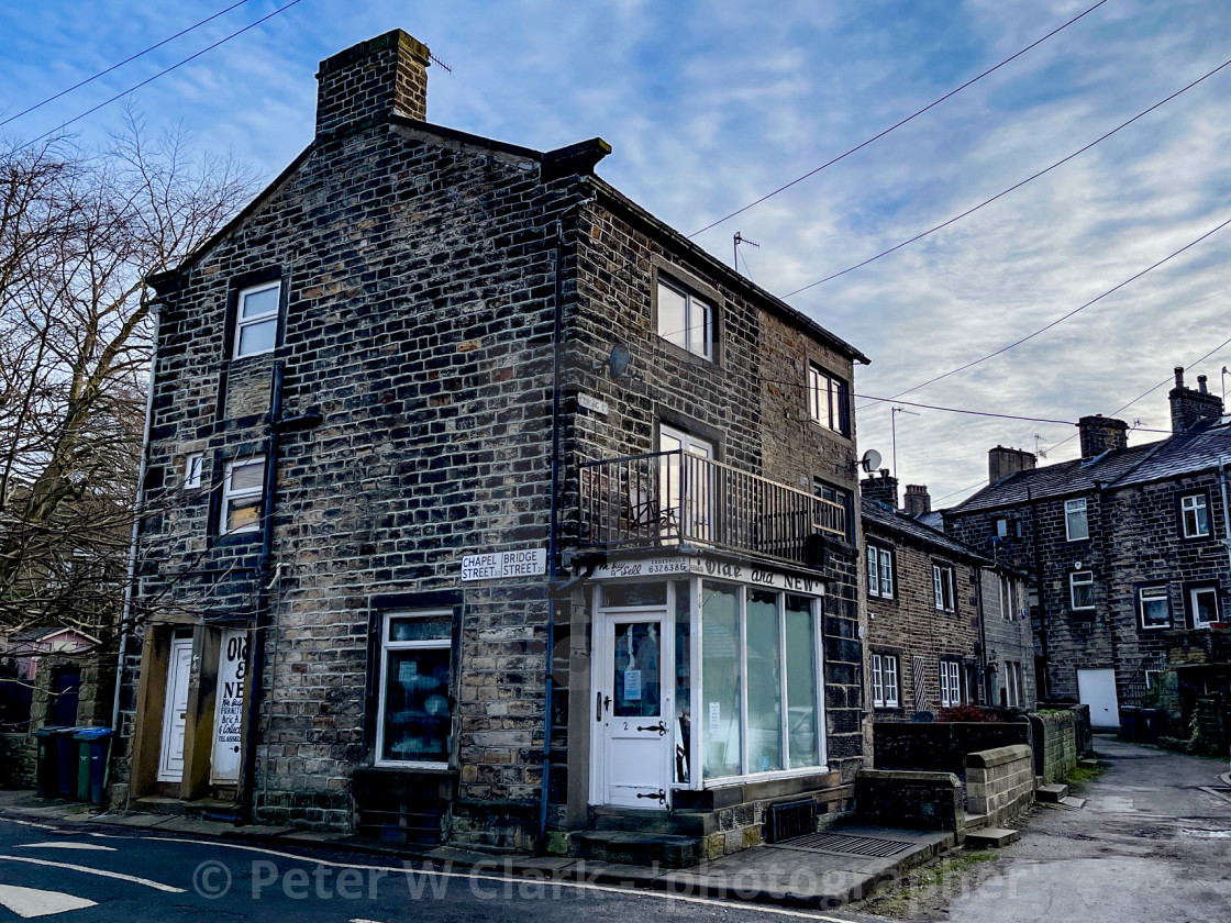 """Silsden, Old and New Shop (Cobbydale) Yorkshire, England."" stock image"
