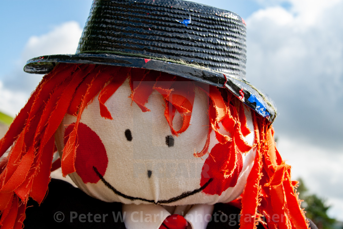 """Kettlewell Scarecrow Festival and Trail, Scarecrow Head. Yorkshire Dales, England."" stock image"