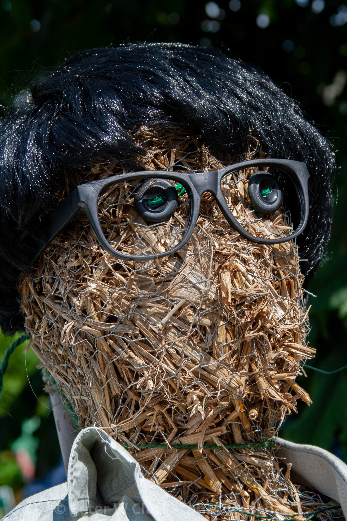 """Kettlewell Scarecrow Festival and Trail, Straw Scarecrow Head. Yorkshire Dales, England."" stock image"
