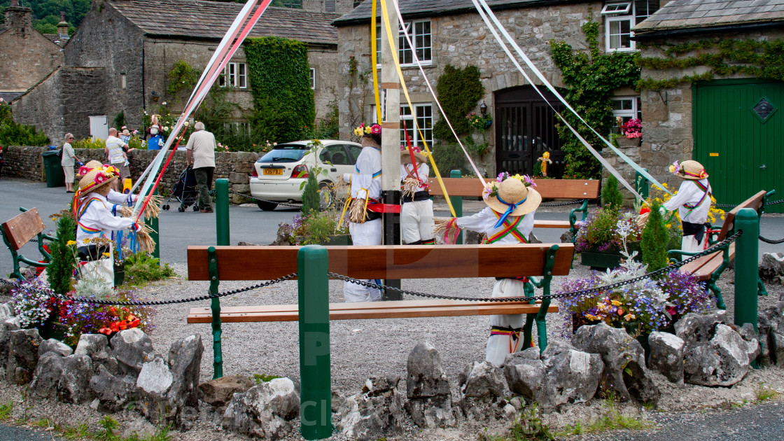 """Kettlewell Scarecrow Festival and Trail, Maypole Dancers. Yorkshire Dales, England."" stock image"