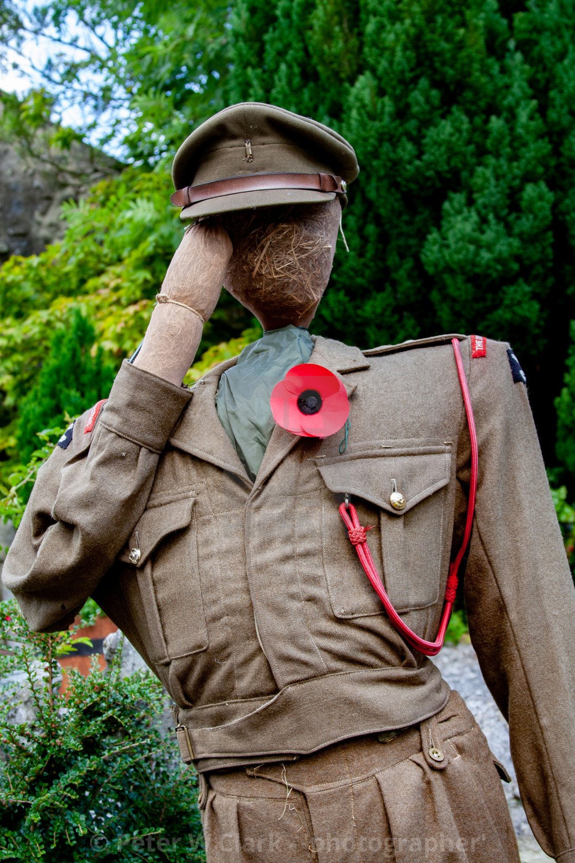 """Kettlewell Scarecrow Festival and Trail, Army Officer. Yorkshire Dales, England."" stock image"