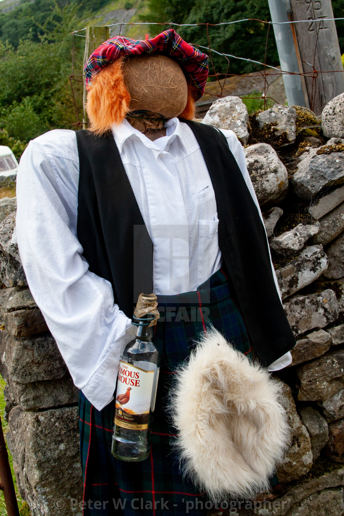 """Kettlewell Scarecrow Festival and Trail, Scotsman in Kilt. Yorkshire Dales, England."" stock image"